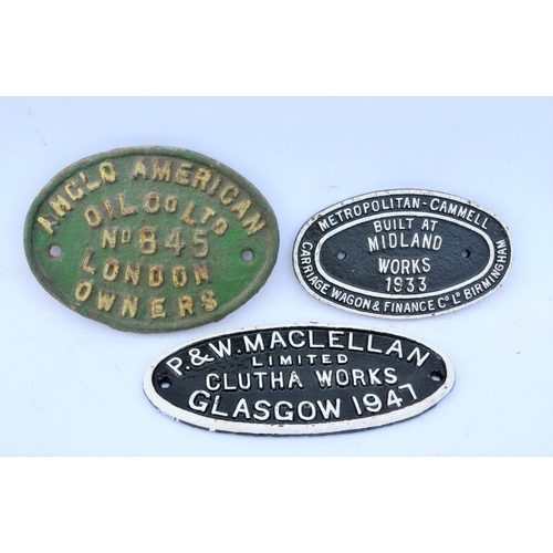 17 - Wagonplates, Anglo American Oil Co. 845, Met Cam Mid Works 1933, Maclellan 1947. (3) (Postage Band: ...