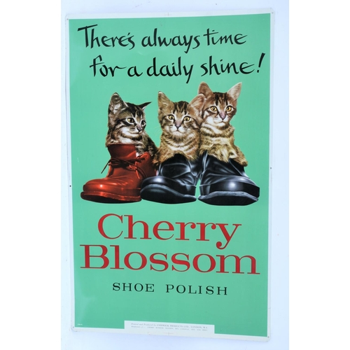 18 - Cherry Blossom shoe polish tinplate advertising sign, excellent condition. 18