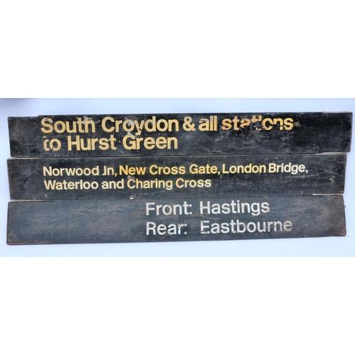 19 - British Railways wooden station platform finger departure boards, Hastings, South Croydon, Norwood e...