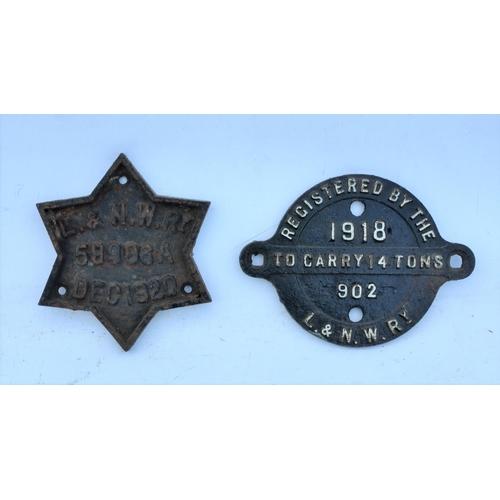 30 - London & North Western Railway C/I star wagonplate 1918 & registration plate 1920. (2) (Postage Band...
