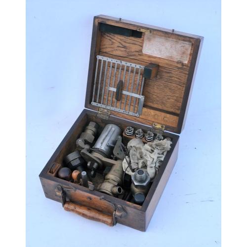 33 - Schappper & Budenberg Magderburg Buckau steam piston calibration/alignment set in fitted wooden case...