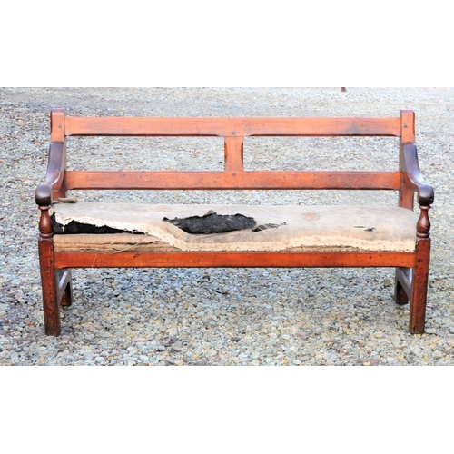 35 - North Staffordshire Railway upholstered waiting room bench, timber frame excellent (prominently bran...