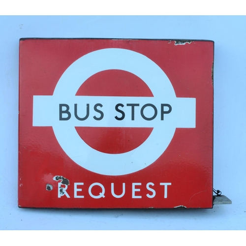37 - London Transport enamel Request Bus Stop sign, box type. (Postage Band: N/A)