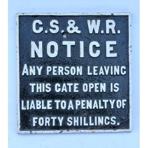 39 - Great Southern & Western Railway (Ireland) C/I gate notice (GTGS101), 10 5/8