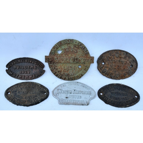 44 - Wagonplates, c/i Claye, Chas Roberts x2, Wagon Rep Chesterfield, Hurst Nelson, North Eastern Railway...