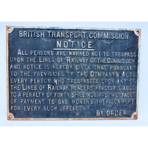 45 - British Transport Commission (Great Western Pattern) C/I Trespass notice (TPBT101), 20