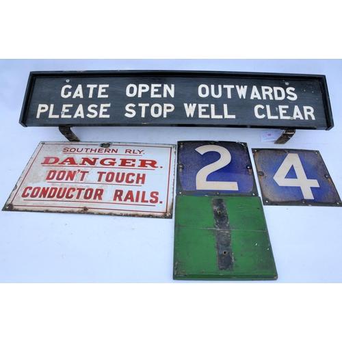46 - Railway Enamel signs, Southern Railway Conductor Rails, blue 2 & 4 car stop numbers, backboard & woo...