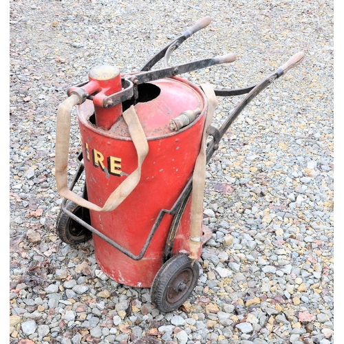 49 - Great Eastern Railway Merryweather hand fire pump cart with hoses, nozzle stamped GER. (Postage Band...