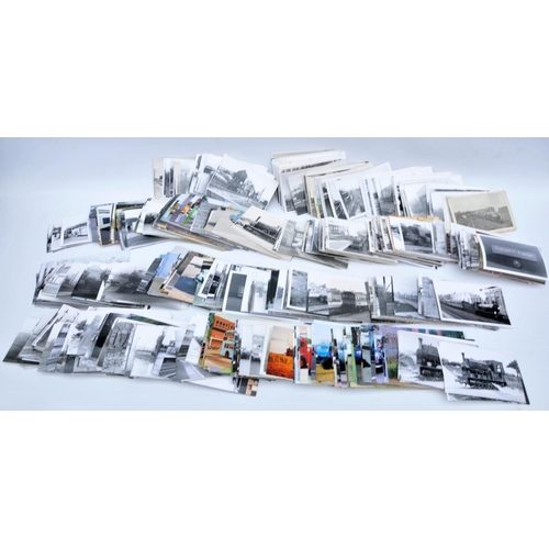 Quantity of postcard size photographs - railways & buses. (Postage Band: N/A)