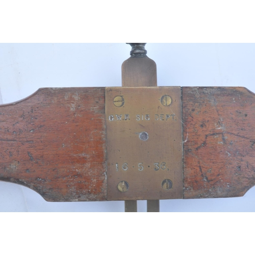 53 - Great Western Railway mahogany & brass ATC (Automatic Train Control) ramp setting gauge, clearly sta...