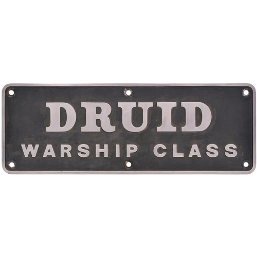 100 - A nameplate, DRUID, WARSHIP CLASS, from Class 42 D815. New to Plymouth Laira in January 1960 and wit...