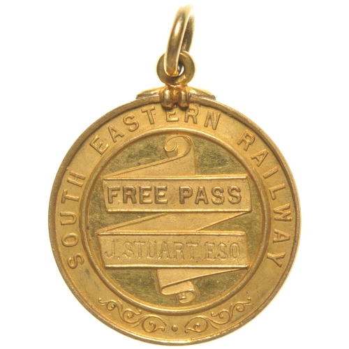 135 - A South Eastern Railway gold director's pass in favour of Mr J Stuart. 1⅛
