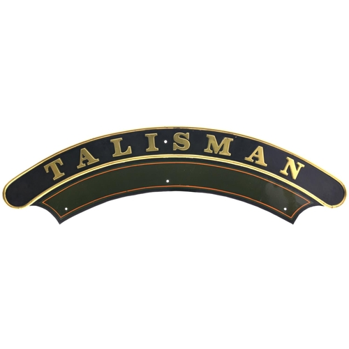 136 - A nameplate, TALISMAN, from a GWR 2900 Saint Class 4-6-0 built at Swindon, Works No 2136, in Septemb...
