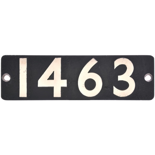 16 - A smokebox numberplate, 1463, from a GWR Collett 1400 Class 0-4-2T built at Swindon in February 1936...