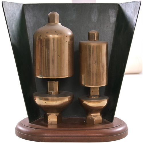 165 - A pair of Great Western Railway loco whistles, mounted on a wooden stand with a wooden baffle plate ...