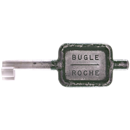 28 - A single line key token, BUGLE-ROCHE, (alloy), from the Par to Newquay branch. (Postage Band: A)...