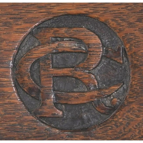 36 - A Caledonian Railway office chair, the company initials in monogram carved in the top rail. Good, us...