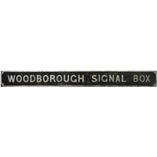 37 - A Great Western Railway nameboard, WOODBOROUGH SIGNAL BOX, from the Savernake to Westbury section of...