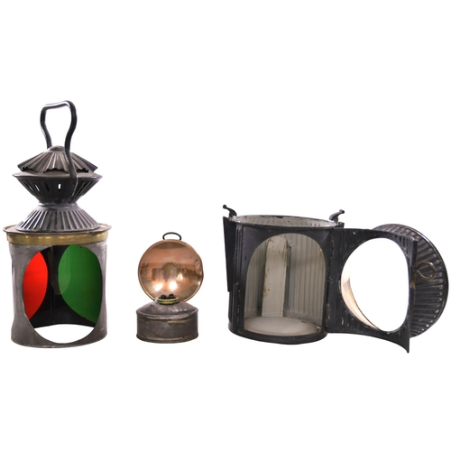 41 - A Messengers Patent handlamp, a unique design with corrugated body widely used by the Furness Railwa...