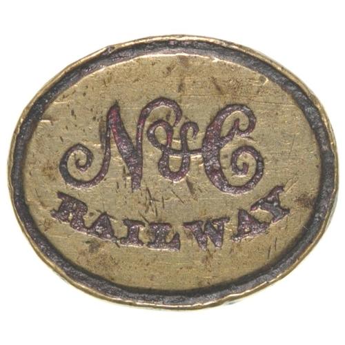 42 - A Newcastle and Carlisle Railway company seal showing the company initials N&C RAILWAY. The line ope...