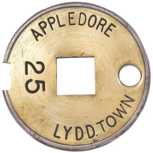 46 - A Tyers No 6 single line tablet, APPLEDORE-LYDD TOWN, (brass/steel), from the South Eastern Railway ...