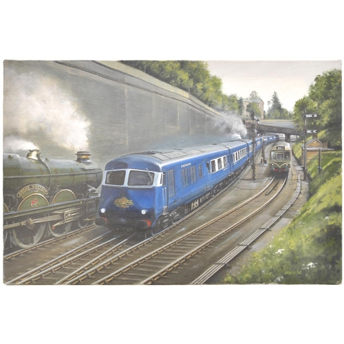 49 - An original painting, The Birmingham Pullman, by Brian, 1996, a view of the down service just north ...