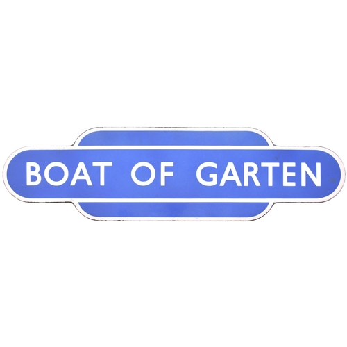 80 - A BR(Sc) totem sign, BOAT OF GARTEN, (f/f), from the Highland Railway Aviemore to Forres route which...