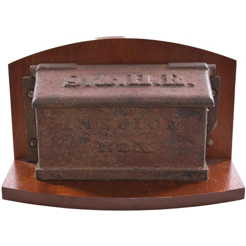 81 - A Shrewsbury and Hereford Railway invoice box, the top marked S&HR, the side marked INVOICE BOX. Cas...