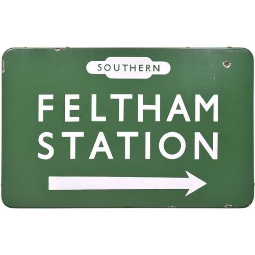104 - A BR(S) direction sign, SOUTHERN RAILWAY, FELTHAM STATION, from the Twickenham to Staines section of...