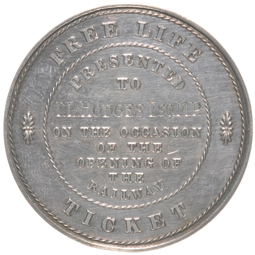 105 - A London and Greenwich Railway Free Life Ticket, presented to T.L. Hodges Esq M.P., featuring an ima...
