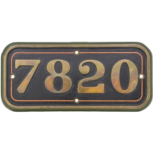 131 - A (GWR) cabside numberplate, 7820, from a 7800 Manor Class 4-6-0 built at Swindon in November 1950 a...