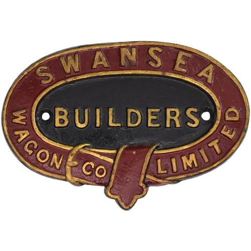 151 - A wagonplate, SWANSEA WAGON CO, BUILDERS. Cast iron, 6¾