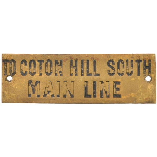 17 - A Great Western Railway signal box shelf plate, TO COTON HILL SOUTH MAIN LINE, a box north of Shrews...