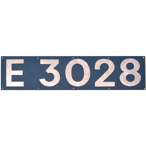 2 - A cabside numberplate E3028 from a BR Class 83 electric built by English Electric/Vulcan Foundry Wor...