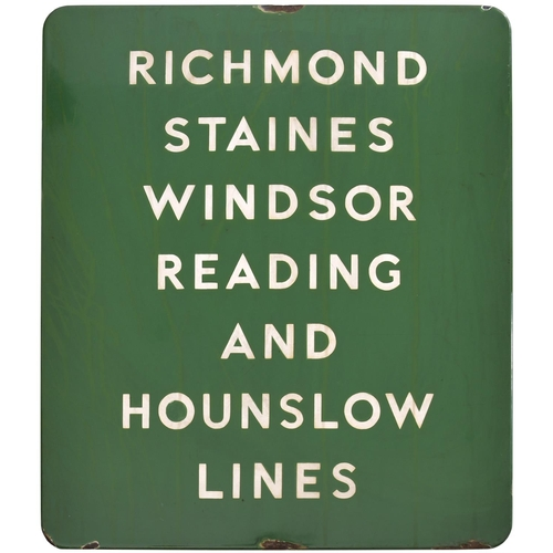 25 - A BR(S) station sign, RICHMOND, STAINES, WINDSOR, READING AND HOUNSLOW LINES, (f/f), probably used a...