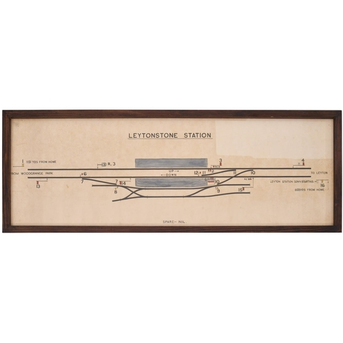 26 - A BR(E) signal box diagram, LEYTONSTONE STATION, showing lines towards Woodgrange Park and Leyton, p...