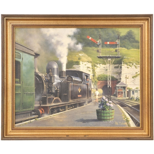 29 - An original painting, ISLAND SUMMER, by Phillip Hawkins, a view at Ventnor station of an O2 Class ta...