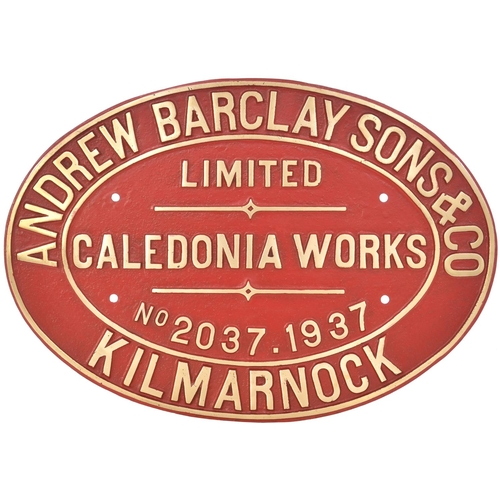 49 - A worksplate, ANDREW BARCLAY, 2037, 1937, from a standard gauge 0-4-0 Crane Tank new to Stanton Iron...