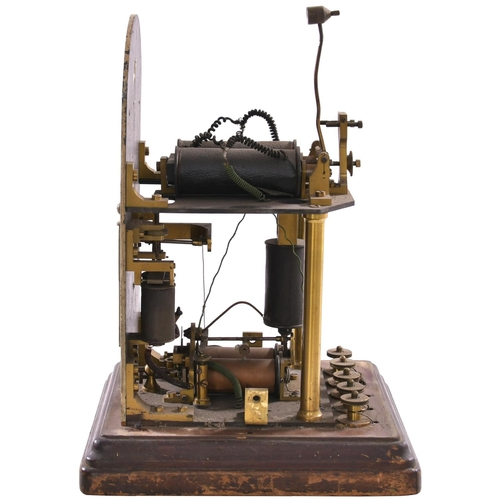 54 - A London and South Western Railway Preece block instrument with a semaphore arm on a brass finialed ...
