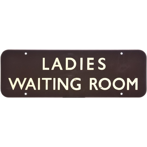 59 - A BR(W) doorplate, LADIES WAITING ROOM, (f/f), enamel, a few tiny face chips and blemishes, excellen...