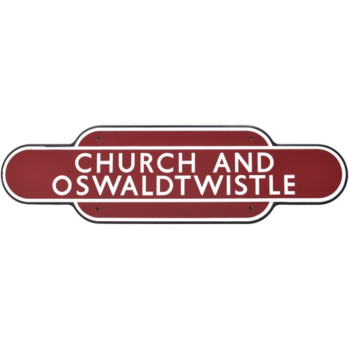 6 - A BR(M) totem sign, CHURCH & OSWALDTWISTLE, (f/f), from the Blackburn to Accrington section of the P...