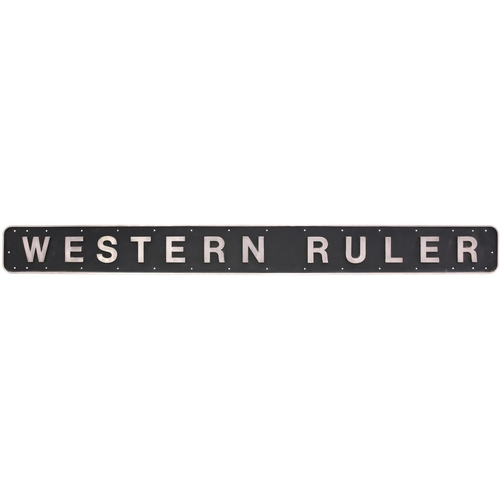 70 - A nameplate, WESTERN RULER, and its cabside numberplate D1050, from a BR D1000 Class (later Class 52...
