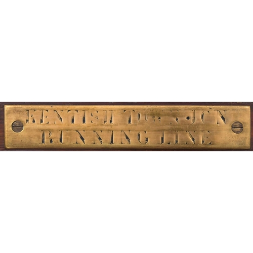 9 - A Midland Railway pegging block instrument with brass plate, KENTISH TOWN JCN RUNNING LINE. The inst...