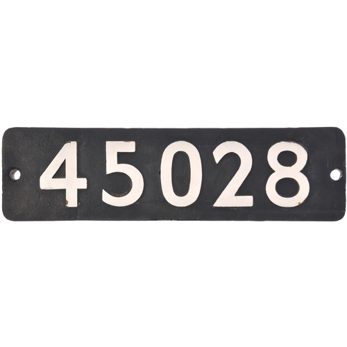 110 - A smokebox numberplate, 45028, from a LMS Class 5 4-6-0 No 5028 built by Vulcan Foundry, Works No 45...