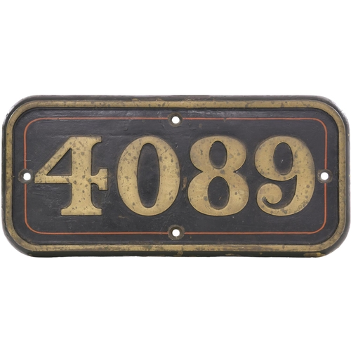 112 - A GWR cabside numberplate, 4089, from the 4073 Castle Class 4-6-0 DONNINGTON CASTLE. Cast brass, in ...