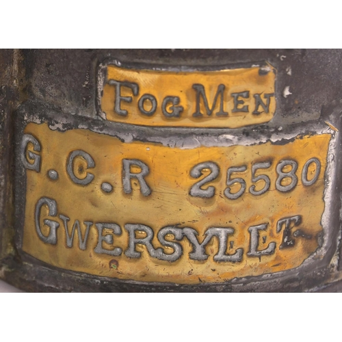 12 - A Great Central Railway three aspect handlamp with brass plate GCR 25880, GWERSYLLT, FOGMAN, the sam...