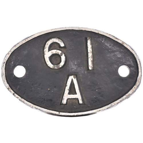 A shedplate 61A, Kittybrewster (1948-August 1967). In the 1950s this, the principal Great North of Scotland Railway shed, was home to seven of the eight named D40 Class 4-4-0s. The front repainted. (Postage Band: B)