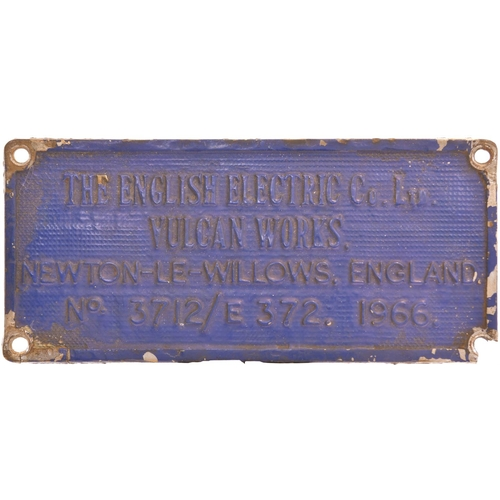 35 - A worksplate, ENGLISH ELECTRIC/VULCAN FOUNDRY, 3712/E372, 1966 from a BR Class 73 electro diesel loc...