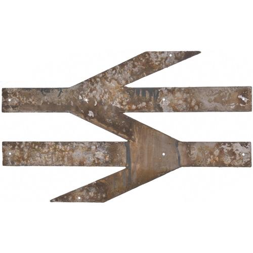 45 - A British Rail double arrows emblem. Cast aluminium, 30