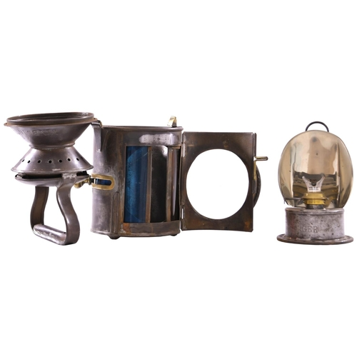 47 - A Great Northern and Great Eastern Joint Railway three aspect sliding knob handlamp, GER and WIMBLIN...